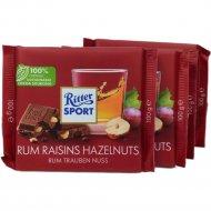 Шоколад молочный«Ritter Sport»с ямайским ромом, изюмом и орехами,100г.