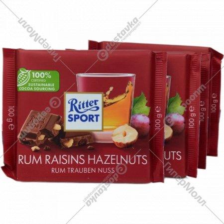 Шоколад молочный «Ritter Sport» с ямайским ромом, изюмом и орехами, 100г.