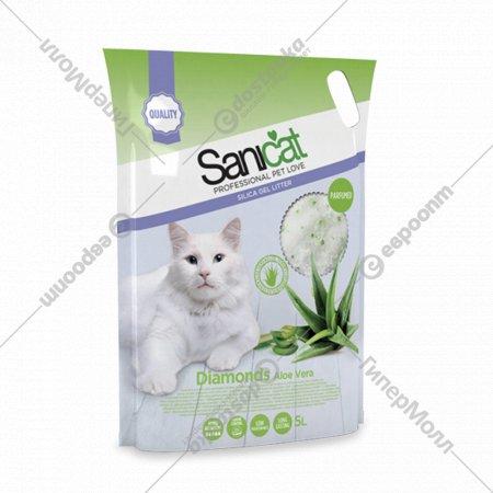 Наполнитель для туалета «Sanicat» DIAMONDS ALOE VERA силикагелевый, 5 л.