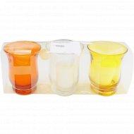 Набор подсвечников стеклянных со свечками 3 шт. 7.8х7.8х9 см.