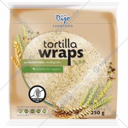 Тортилья пшеничная «Dijo» с отрубями и семенами льна, 4 х 62.5 г.