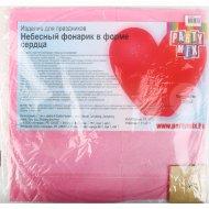 Небесный фонарик «Сердце» розовый 1 шт.