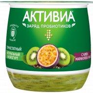 Биойогурт «Активиа» с киви, маракуйей и семенами чиа, 2.8%, 170 г.