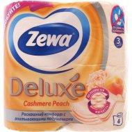 Туалетная бумага «Zewa» персик, трехслойная, 4 рулона.