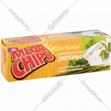 Чипсы «Mega Chips» со вкусом сметаны и лука, 200 г.
