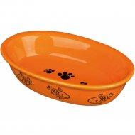 Миска «Trixie» керамическая, для кошек, овальная, 200 мл, 15х10 см.