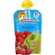 Пюре «Бабушкино Лукошко» из яблок, малины и вишни, 90 г.
