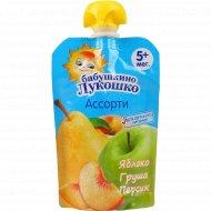 Пюре «Бабушкино Лукошко» из яблок, груш и персиков, 90 г.