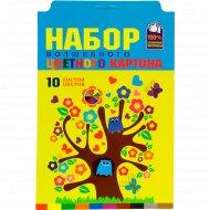 Картон цветной «Дерево творчества» 10 листов, 10 цветов.