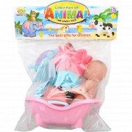 Набор игрушек для купания с ванночкой.