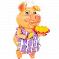 Магнит «Свинка» фиолетовая юбка.