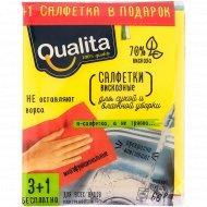 Салфетки из вискозы «Qualita» для сухой и влажной уборки, 4 шт.