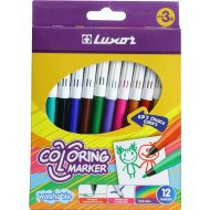 Фломастеры «Luxor Coloring» 12 цветов.