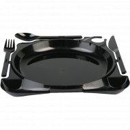 Комбо-тарелка больщая черная (вилка+нож+ложка) 1шт.