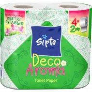 Бумага туалетная«Sipto Deco Aroma» c ароматом луговых цветов,4 рулона.