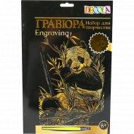Гравюра «Панда» золото, 210х297 мм.