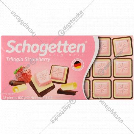 Белый шоколад «Schogetten» Trilogia Strawberry, 100 г.