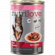 Корм для собак «Nutrilove» кусочки с телятиной и индейкой, 415 г.