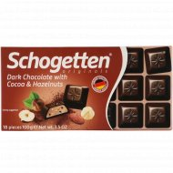 Шоколад темный «Schogetten» с какао-бобами и лесными орехами, 100 г.