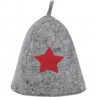 Шапка банная со звездой, войлок серый, Б40101.