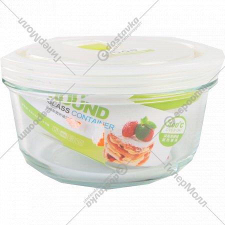 Стеклянный пищевой контейнер круглый, 390 мл.