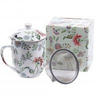 Кружка с ситом, крышкой, ложкой «Best home porcelain» Tiffany, 300 мл