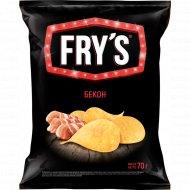 Чипсы из натурального картофеля «Fry's» со вкусом бекона, 70 г.