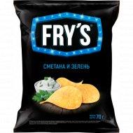 Чипсы «Fry's» со вкусом сметаны и зелени, 70 г.