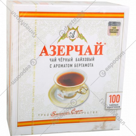 Чай черный «Азерчай» с ароматом бергамота, 100 пакетиков.