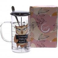 Кружка с ложкой и крышкой «Belbohemia» Упийца кофе, 300 мл