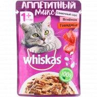 Корм для кошек в сливочном соусе «Whiskas» с говядиной и ягненком, 85 г.