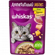 Корм для кошек в сырном соусе «Whiskas» с курицей и уткой, 85 г.