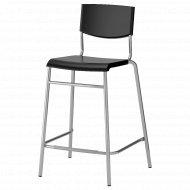 Барный стул «Ikea» Стиг, 703.608.62, черный/серебристый, 63 см