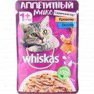 Корм для кошек в сливочном соусе «Whiskas» с креветками и лососем, 85 г.