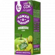 Сок «Ложка в ладошке» яблочно-виноградный, 200 мл.