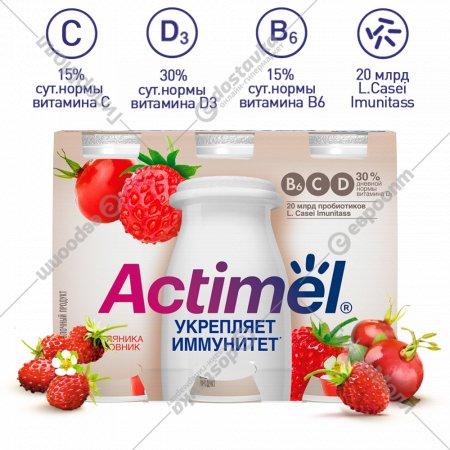 Продукт кисломолочный «Actimel» земляника-шиповник, 2.5 %, 100 г х 6 шт.