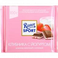 Шоколад «Ritter sport» молочный с клубнично-йогуртовой начинкой, 100г.