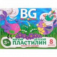 Пластилин детский «BG» набор со стеком, 8 цветов