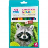 Карандаши цветные «ArtSpace» трехгранные, 18 цветов.