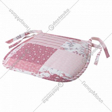 Подушка «Габрике» на стул, бело-розовая, 27/38x38x3 см.