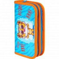 Пенал «Забавный тигр» 2 отделения, оранжевый/синий