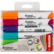 Набор маркеров для доски «Kores» 6 шт, ассорти