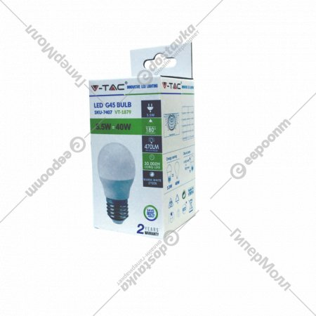 Лампа светодиодная «V-TAC» 5.5 ВТ, 470LM, G45, Е27, 2700К SKU-7407.