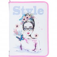 Папка для тетрадей «Butterfly style» А4, бело-розовый