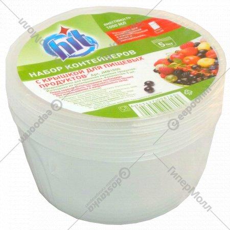 Набор контейнеров «Hit» с крышкой 1 л, 5 шт.