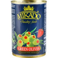 Оливки зеленые «Mikado» фаршированные перцем, 280 г.