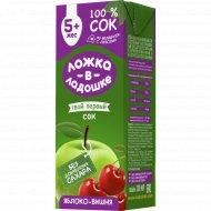 Сок «Ложка в ладошке» яблочно-вишневый, 200 мл.