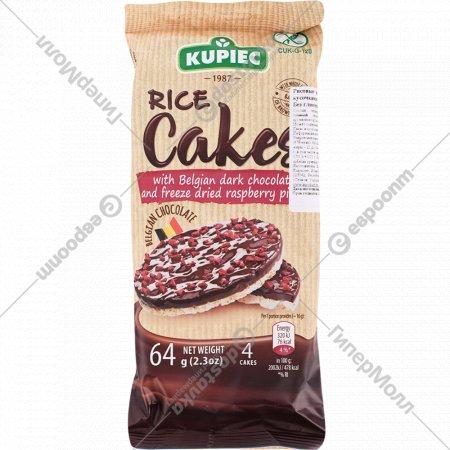 Вафли рисовые «Купец» бельгиский темный шоколад и кусочки малины, 64 г