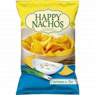 Начос чипсы кукурузные «Happy Nachos» со вкусом сметаны и лука, 150 г