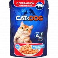 Консервированный корм для кошек «Cat & Dog» говядина 0.1 кг.